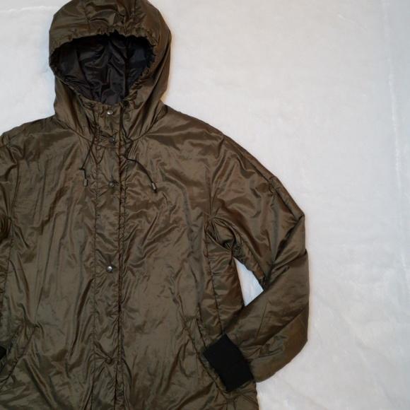 dc3726db Zara Jackets & Coats | Army Green Shiny Long Jacket | Poshmark